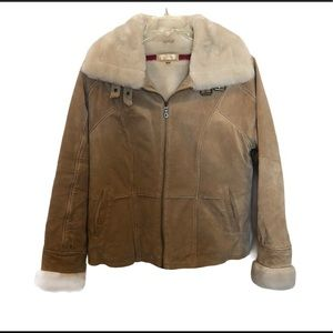 Wilson Leather suede sherpa jacket coat